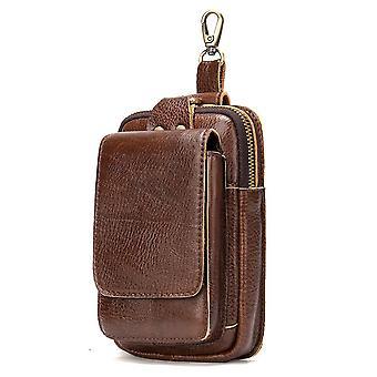 Tasca da uomo in pelle vintage nera marrone, cintura in pelle vacchetta borsa da cintura borsa per telefono cellulare borsa in vita