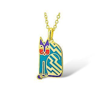 Laurel Burch Aztec Cat Blue Cloisonne Pendant w/ Necklace