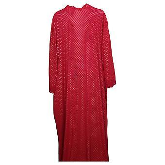 Rhonda Shear Women's Plus Printed Knit Tie-Front Long Robe Red 746383
