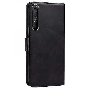 Case For Sony Xperia 1 Ii Wallet Flip Pu Leather Cover Card Holder Coque Etui - Black Cat