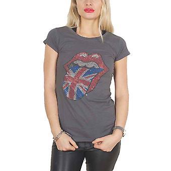 Den Rolling Stones T Skjorte Diamante UK Tunge Offisielle Kvinner Grå Skinny Fit