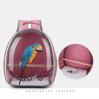 Parrot Pet Backpack Outdoor Travel Cage Portable Parrot Cage Bird Bag House|Bird Cages & Nests(Pink)