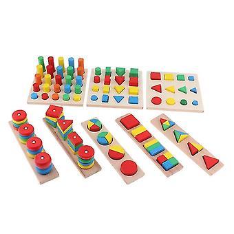 Interlocking blocks 1 set 8 pieces montessori wooden toy stacking blocks toy shape sorting|math toys