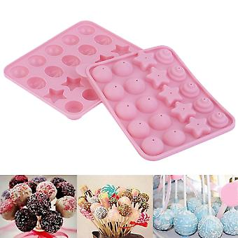 20 Lollipop Pop 4 Pattern Cake Mold Tray Chocolate Silicone Non-stick Baking