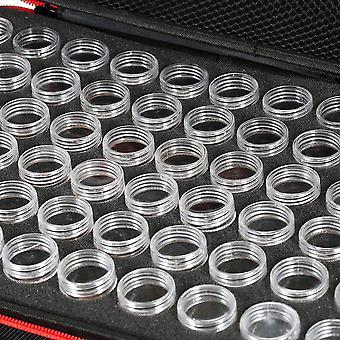 Aufbewahrungsbox mit 60 Fächern, Kleine Flasche, Aufbewahrungsbox aus Strass, Aufbewahrungsflaschen-Aufbewahrungsbox, Doppelreißverschluss, Rot