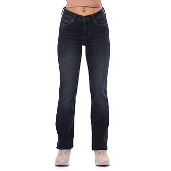 Marineblå Kvinner Rett Passform Denim Jean