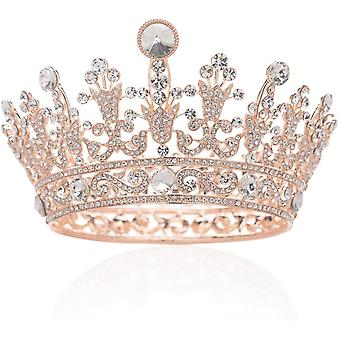 Rose Gold Full Round Crystal Queen Crown Rhinestone Bridal Tiara Wedding