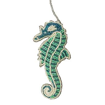 Seafoam Green and Blue Beaded Seahorse Christmas Holiday Ornament