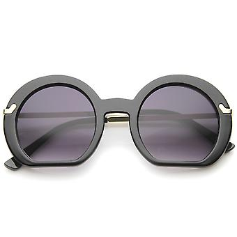 Women's High Fashion platte bodem Oversize ronde zonnebril 50mm