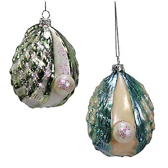 Glass Pearl Oyster Christmas Holiday Ornaments Set of 2