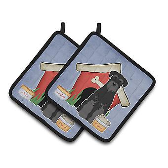 Dog House Collection Standard Schnauzer Black Pair of Pot Holders