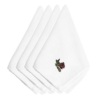 Halloween Witch Riding Broom Embroidered Napkins Set of 4
