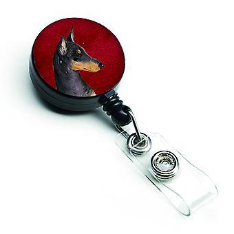 Manchester Terrier retrattile Badge Reel o ID titolare con Clip