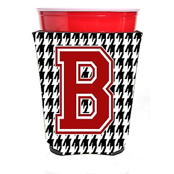 Monogram - Houndstooth  Initial  B Red Solo Cup Beverage Insulator Hugger