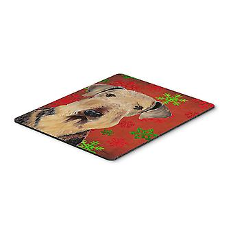 Airedale Red and Green Snowflakes Christmas Mouse Pad, Hot Pad or Trivet