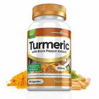 Extracción de cúrcuma 95% curcumina y pimienta negra 500mg - 60 cápsulas - quemador de grasa - evolución adelgazar