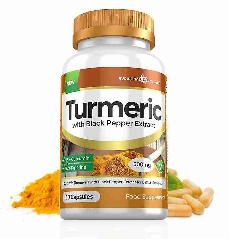 Turmeric 95% Curcumin and Black Pepper Extract 500mg - 60 Capsules - Fat Burner - Evolution Slimming