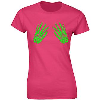 Skeleton Hands Front Glow In The Dark Halloween Scary Fancy Dress Funny Womens T-Shirt 8 Colours by swagwear