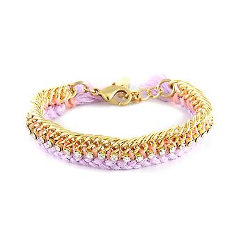 Ettika - White Crystal Bracelet, Lavender Braided Cotton and Yellow Gold Plate 3775