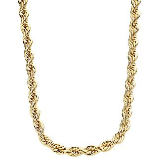 Iced out bling hip hop rope cord chain - 4 mm - gold