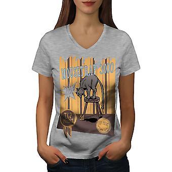 Mouse Trap Funy Joke Women GreyV-Neck T-shirt   Wellcoda