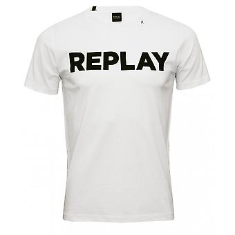 Replay vet Logo Crew-Neck T-Shirt, wit