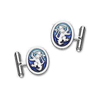 Argento sterlina scozzese tradizionale leone rampante blu smalto ovale Bar gemelli