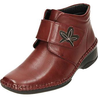 Cushion-Walk Black Wedge Heel Hook And Loop Ankle Boots