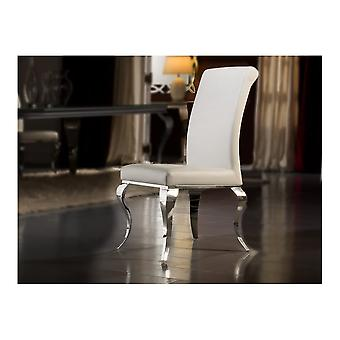 Schuller Barroque Polished Steel And White Leather Dining Chair