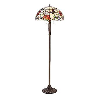 Interiors 1900 Butterfly 2 Light Tiffany Floor Lamp With Dark Br