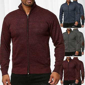 Mens Knitted Jacket Vest Sweater Elbow Patches Zip Up Cardigan Transition Jumper