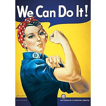 We Can do it Poster  Housewife in army clothes, blue-yellow background