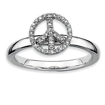 925 Sterling Silber poliert Prong Set Rhodium vergoldet stapelbare Ausdrücke Frieden Symbol Diamant Ring Schmuck Geschenke für