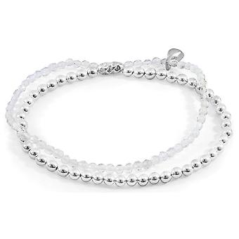 Âncora e tripulação harmonia limpar prata de cristal de rocha e pedra bracelete - prata