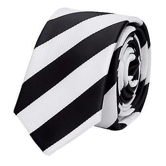 Fabio Farini vit svart randig halsduk, slips, slipsar, slips, 8 cm,