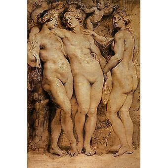 The Three Graces, Peter Paul Rubens, 60x40cm