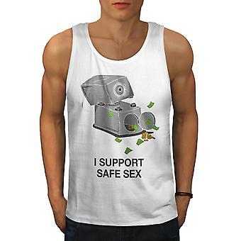 Support Safe Sex Funy Men WhiteTank Top | Wellcoda