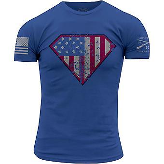 Ähkyä tyyli Super Patriot Crewneck t-paita-sininen