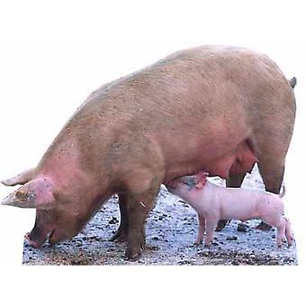 خنزير والخنزير الصغير-انقطاع الكرتون شمعي/الواقف