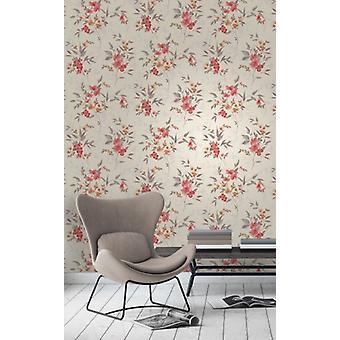 Elegant Sparkle Blossom Red Orange Wallpaper Wall Decoration 0.52m x 10.05m