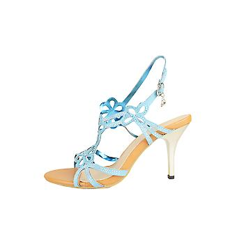 LMS Kitten Heel Sandal With Floral Laser Cutout Design In Blue