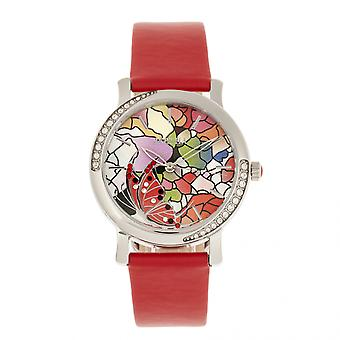 Bertha Vanessa Leather Band Watch - Red