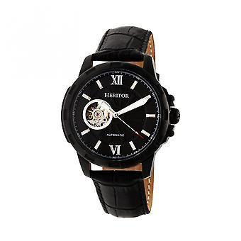 Heritor Bonavento automático relógio de couro-banda semi esqueleto - preto