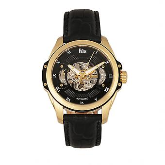 Reign Henley Automatic Semi-Skeleton Leather-Band Watch - Gold/Black