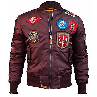 Top Gun MA 1 Nylon Bomber Jacket with Patches Burgundy