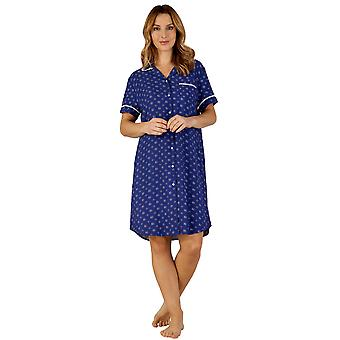 Slenderella GL3712 kvinnors Gaspe blommig sömn Shirt pyjamas nattskjorta