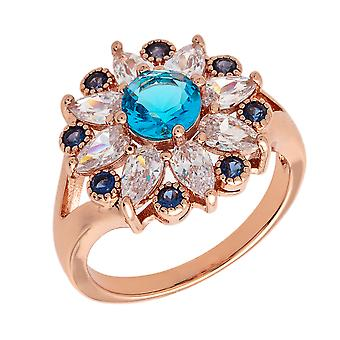 Bertha Juliet Collection Women's 18k RG Plated Light Blue Floral Statement Fashion Ring Size 5