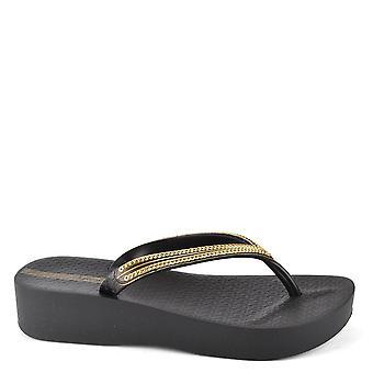 Ipanema Black Mesh Wedge Flip Flop
