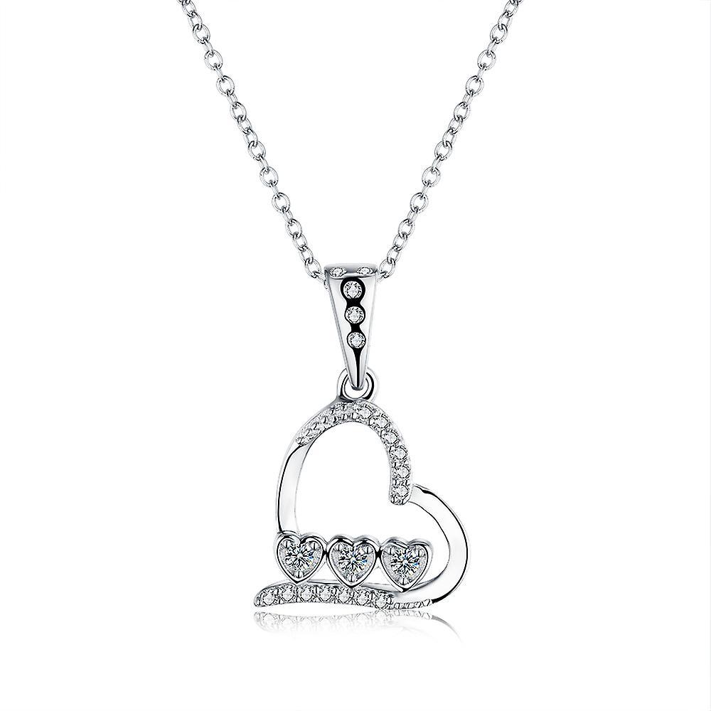 925 Sterling Silver Trio Bezel Heart Style Pendant Necklace & Bezel Studs Set