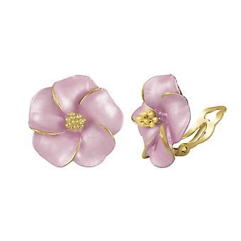Eternal Collection Pansy Pastel Pink Enamel Gold Tone Stud Clip Earrings
